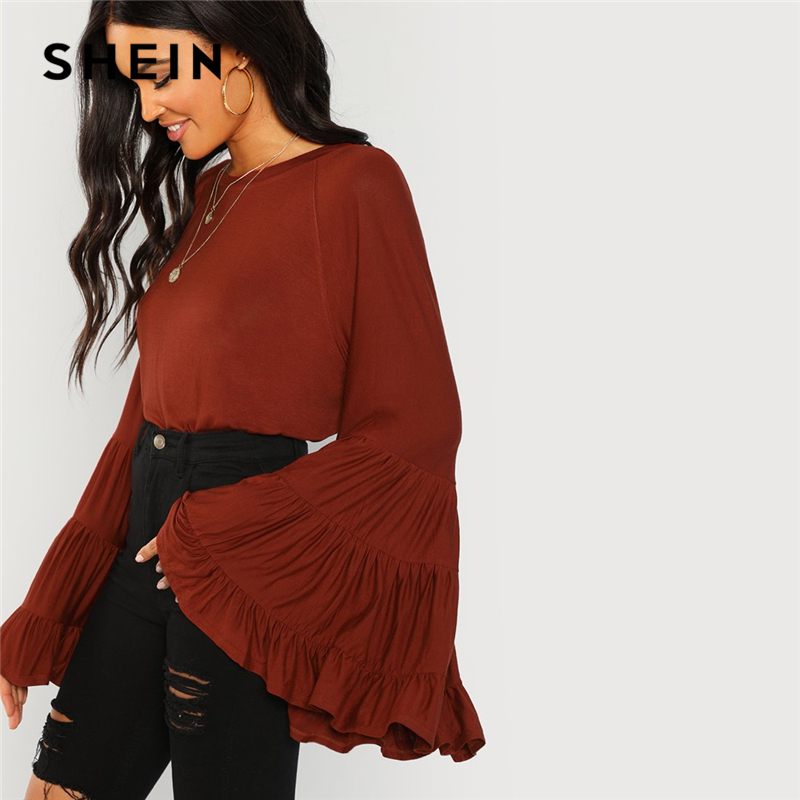 SHEIN Rust Workwear Elegant Tiered Flounce Bell Sleeve Ruffle Long Sleeve Solid Blouse Autumn Minimalist Women Tops And Blouses