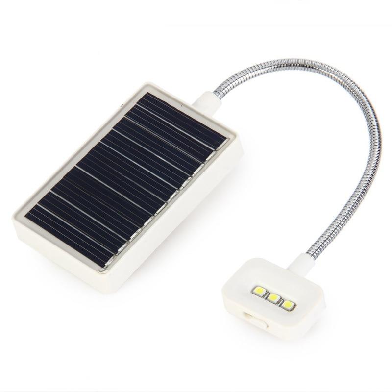 Portable USB / Solar Charging LED Solar Light Mini Flexible Goose Neck Clip On Book Reading Light
