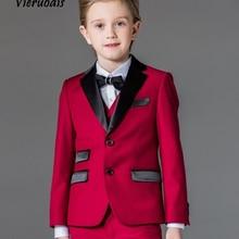 Пользовательские Красные вечерние смокинги для мальчиков, костюмы для свадебной вечеринки, детские костюмы для выпускного вечера, костюмы с цветами