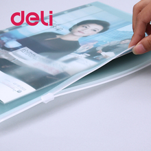 Deli New 10PCS A4 Transparent Document Bag PP Zipper Stationery Pouch Filing Plastic Products Bag Stationery Office Supplies