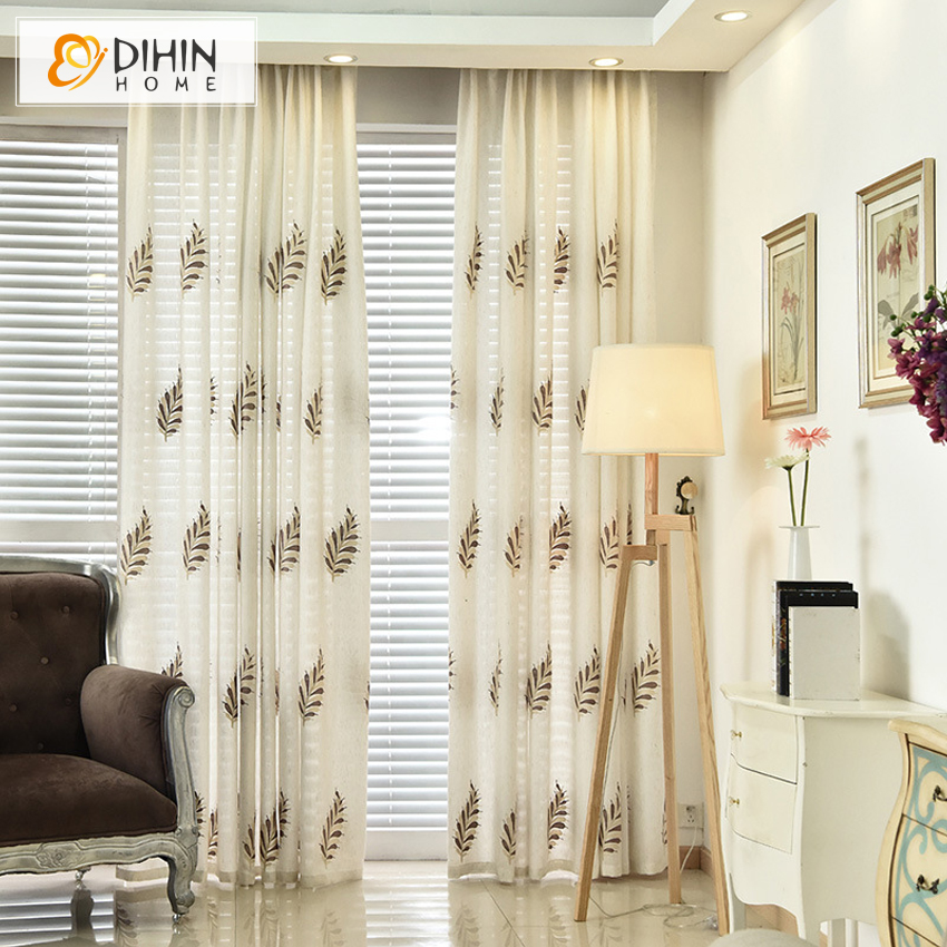 Dihin 1 Pc Embroidered Curtains For Living Room Birds