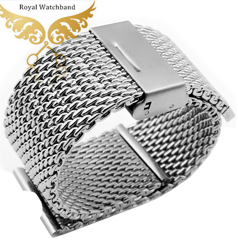 Watchband 22mm New Mens Replacement Silver Mesh Stainless Steel Watchband Strap Bracelet Band For Moto 360