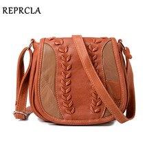REPRCLA Vintage Leather Shoulder Bag Patchwork Knitting Wome
