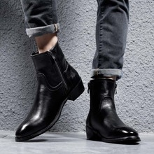 Boots Men Chelsea Rubber Fashion Shoes High-Top Pointed-Toe Genuine-Leather Mid-Calf