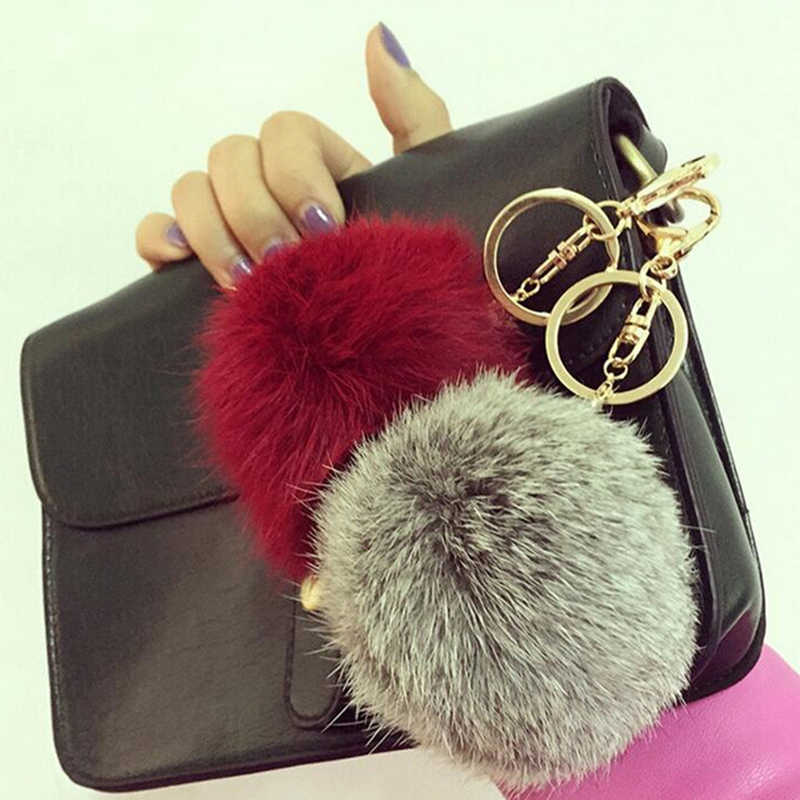 XIAOJINGLING joyería de moda llavero marrón 8 CM Real conejo piel bola colgante llavero encantador bolso llave anillo