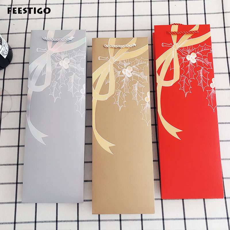 10PCS Creative Wine Package Paper Bags Christmas New Year Wine Gift Bags Holder Wedding Birthday Wine Champang Bottle Carrier