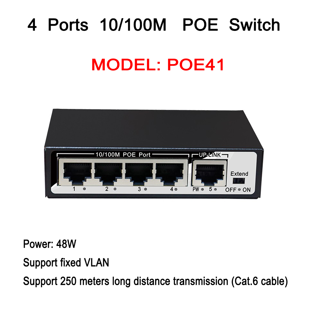 4ch POE Switch 1ch RJ-45 Uplink Port 10/100Mpbs Mini Power Over Ethernet IEEE802.3af 60W 48V