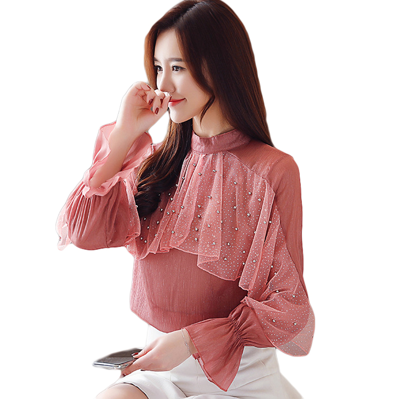 Spring New 2019 Long Sleeve Chiffon Tops Women Transparent Beading Shirt Women Apricot Womens Clothing Loose Ruffle Blouse D729