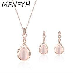Mfnfyh fashion wedding jewellery rose gold color pink opal jewelry sets women water drop shape earrings.jpg 250x250