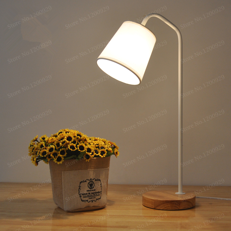 LED Table Lamp Vintage American Country Cloth Lampshade Wood Desk Light Night Light Desk Lamps Eye Protection Home Decoration vintage handmade art retro wood tripod table lamps desk light searchlight alumnum metal copper lampshade nordic design tll 4