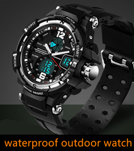 Moda masculina Deporte Militar Relojes de pulsera de 2016 Nueva SANDA 3ATM 30 m de Buceo Relojes Hombres Marca de Lujo LED Digital Analógico de Cuarzo relojes