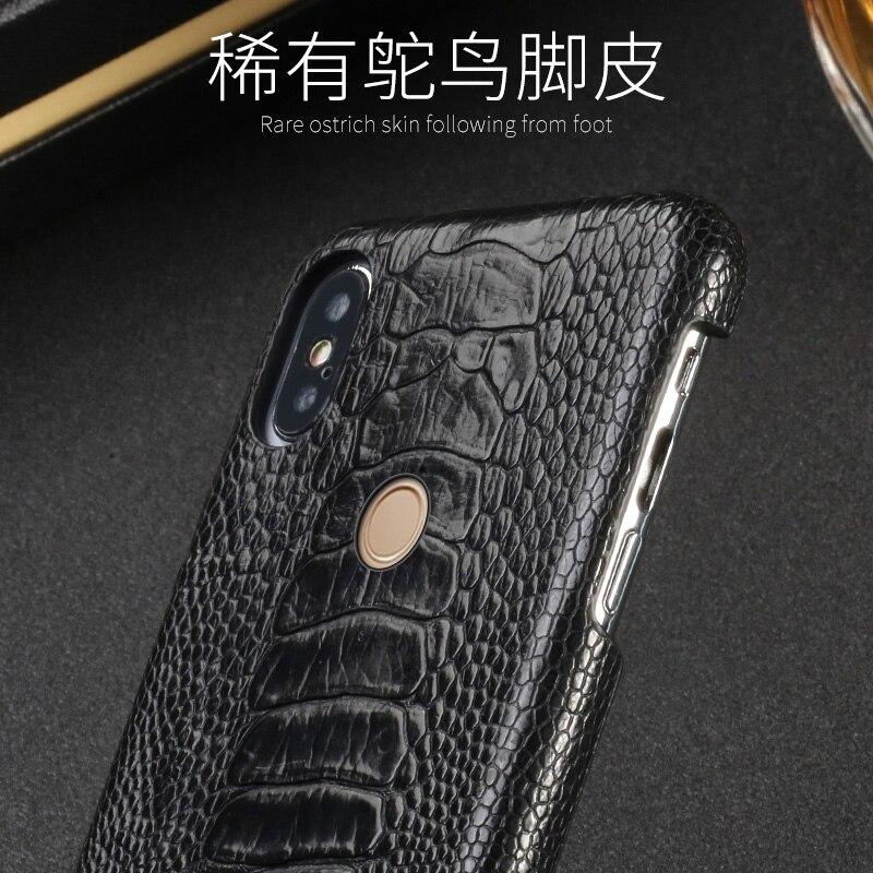 D'autruche naturelles Pied Peau étui de téléphone pour xiaomi mi 5 6 8SE A1 A2 Max 2 mi x2S Note 5 Rouge mi Note 3 4 4X5 5A Plus Couverture arrière - 4