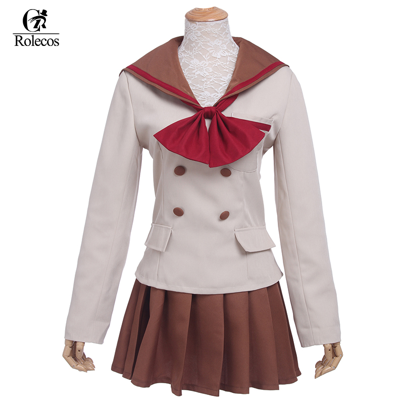 Rolecos Brand Sailor Moon Hino Rei Cosplay Costumes Sailor Moon Hino Rei School Uniform Outfit Girl Gray School Uniform Any Size