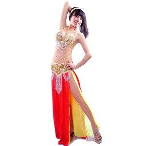 Image 5 - Nowy seksowny podwójny kolor spódnice do tańca brzucha profesjonalny zestaw do tańca brzucha zestaw do tańca brzucha wydajność kostium: biustonosz i pas i spódnica