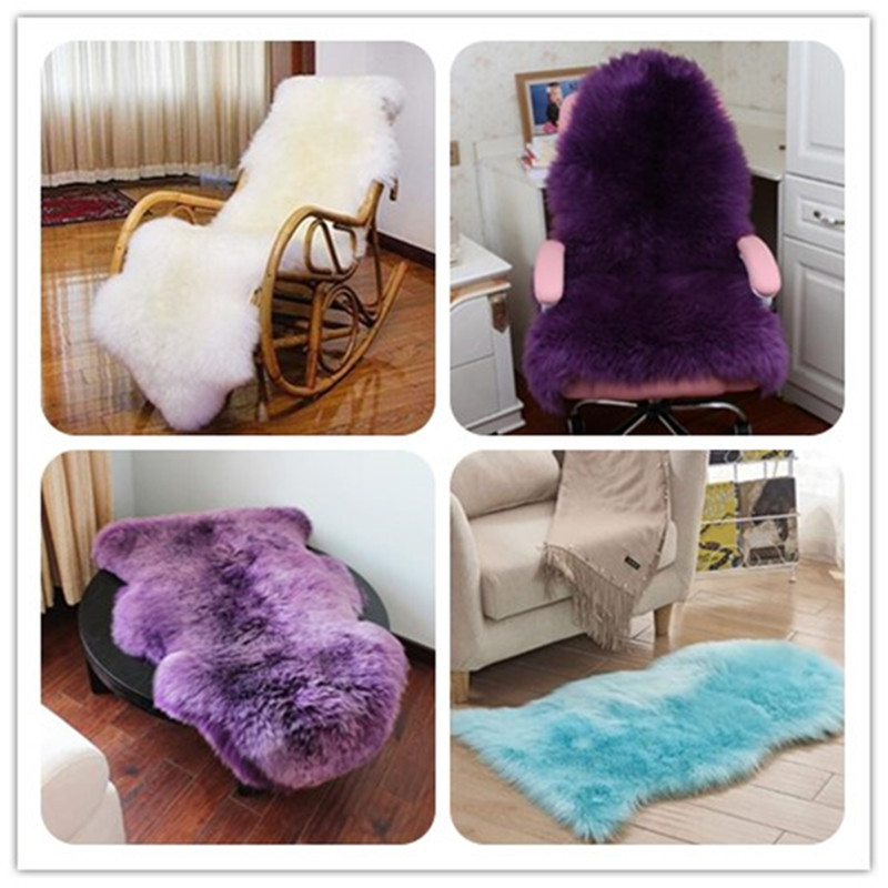 Faux Fur Rug For Sofa Hairy Carpet Artificial Wool Sheepskin Parlor Room Decor Floor Mat Fluffy Soft Rest Area Blanket Seat Pad