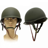 Military Mich Repro Protective Men's WW2 US Army M1 Tactical Helmet Stainless Steel Army Green with Camouflage Net JC