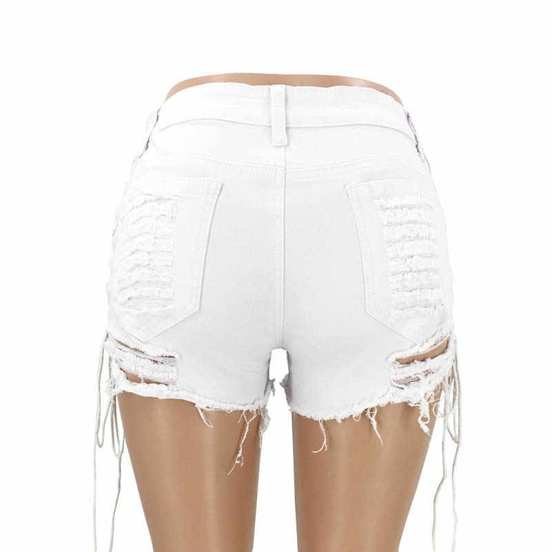 NiceMix otwór spodenki dżinsowe klub nocny sex dżinsy kobiet Denim zgrywanie krótkie dżinsy wysokiej zwężone Tassel elastyczne wiązana bandażowa spodenki