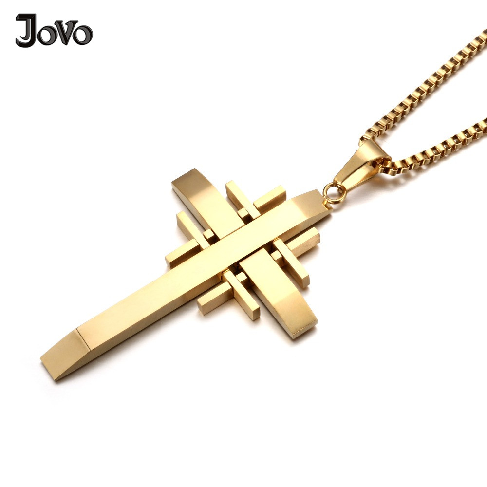 3 Colors Jewish Cross Necklace Stainless Steel Classic