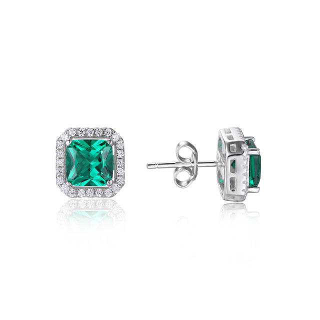 JewelryPalace Square 1.2ct Created Emerald 925 Sterling Silver Stud Earrings For Women 2016 Fashion Silver Jewelry