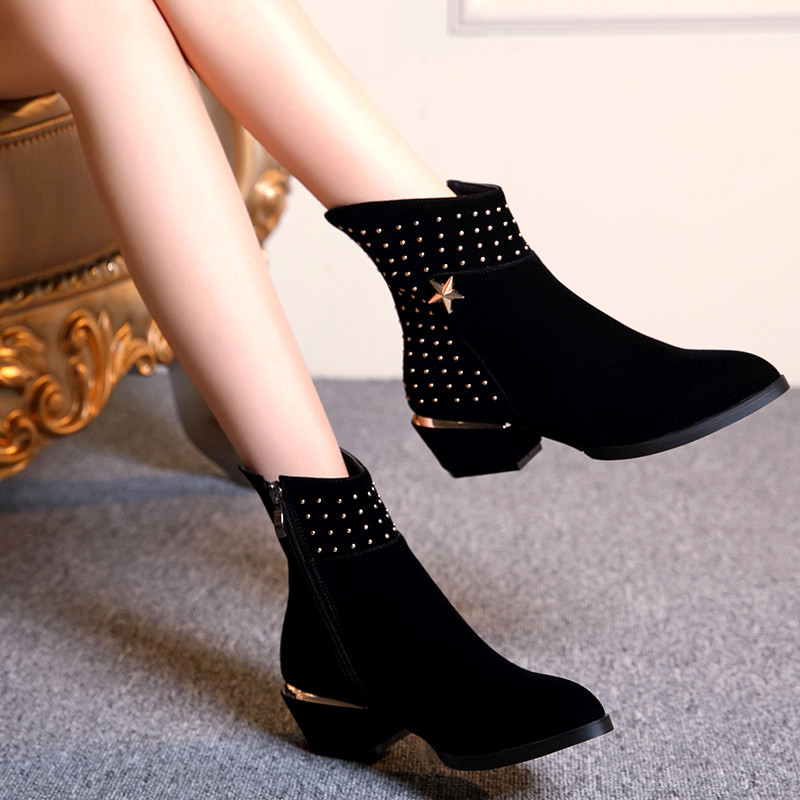 The new Europe and the United States with low and naked female boots boots female five-star diamond short boots джинсовые мужские шорты fallen winslow short indigo rinse