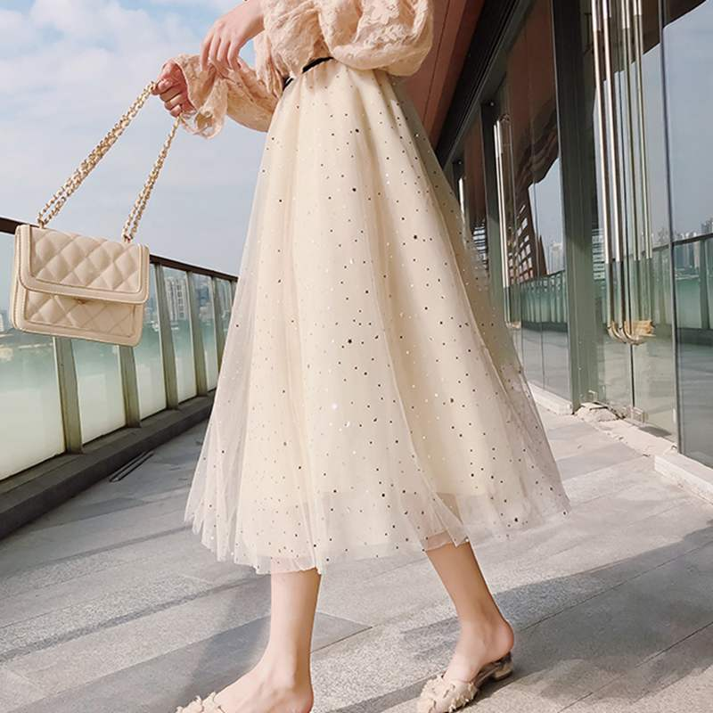 ONLYWONG Korea Style Spring Summer Women Pleated Skirt Star Sequined Tulle Skirt 3 layers Lurex High Waist A Line Tutu Skirt