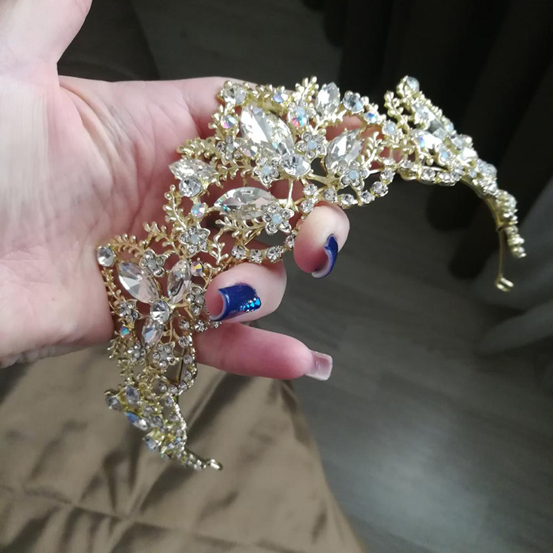 XIAOJINGLING 2018 New Fashion Wedding Crystal Crown Hair Jewelry Bridal Crown Tiara Gold High Quality Hair Accessories For Women