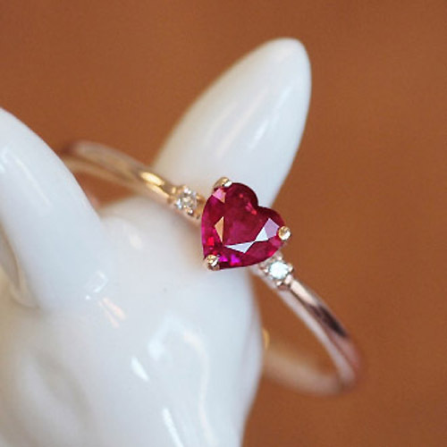 925 Sterling Silver Heart Shaped Garnet Red Natural Semi Precious Stones Corundum Rings