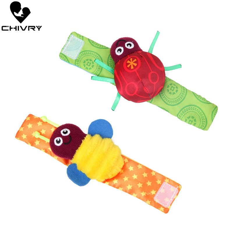 Chivry 2Pcs Soft Animal Socks Wrist Bell Bands Sound Hand Foot Bells Pet Socks Attention Baby Kids Rattles Toys