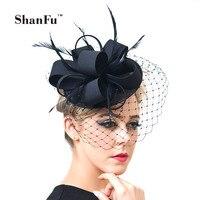 ShanFu Women Fancy Feather Fascinator Hats Black Birdcage Veil Wedding Hats and Fascinators White Net Hair Accessories SFC12517