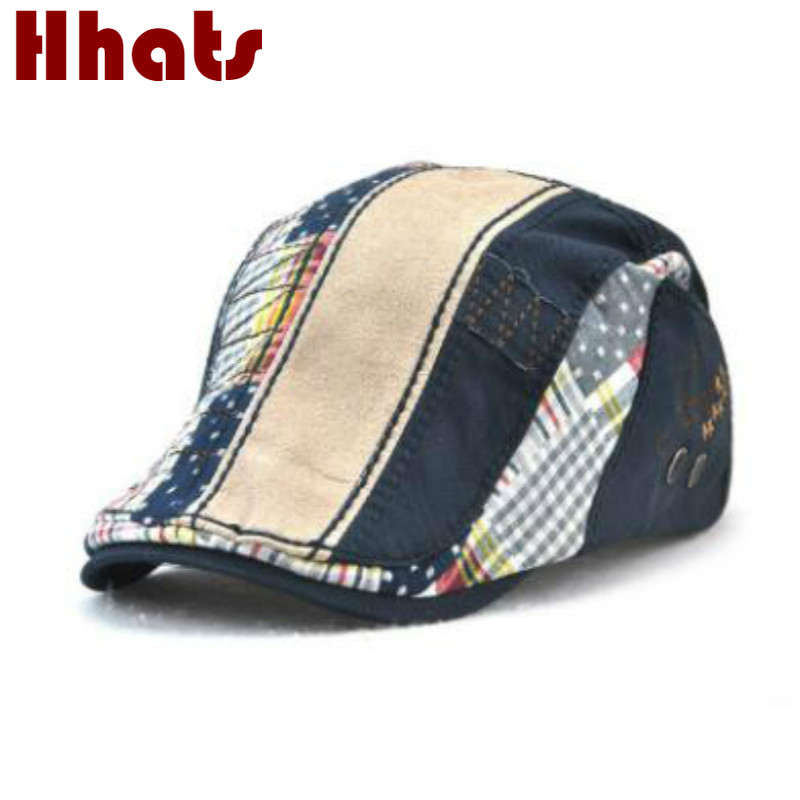 Hats & Caps Wshower Cotton Spring Summer Children Patchwork Plaid Berets Hat Cartoon Hole Washed Boy Girl Denim Sun Hat Distressed Kids Cap