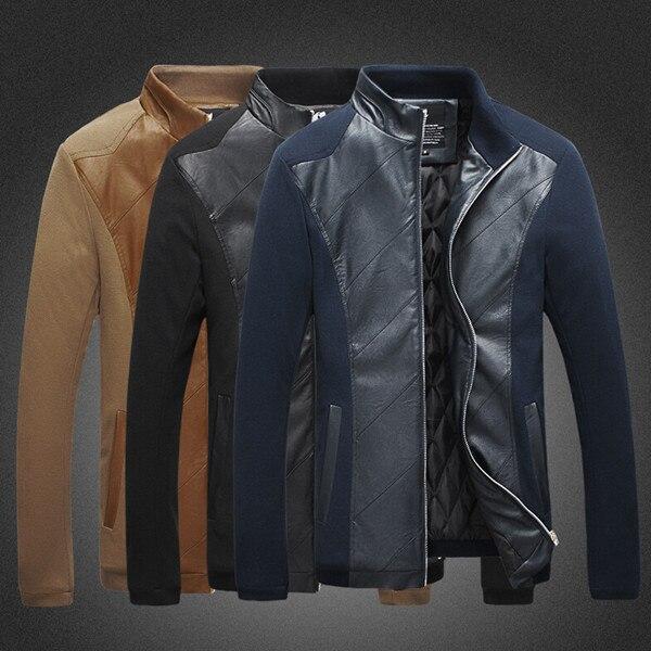 Veste kaki Ajouter Cuir navy Pied Haute 2015 Survêtement Fit Slim Casual M 5xl Pu Coton De Col Blue Hommes Qualité Manteau Noir wx16qgX