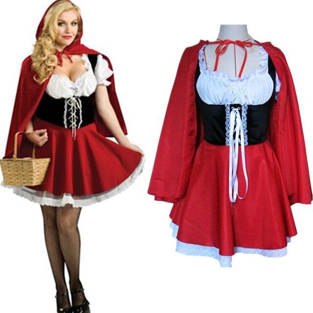 01aa11a73b5 S-6XL новая мода Хэллоуин костюм для взрослых Для женщин Fantasy костюм Дамы  Красная Шапочка