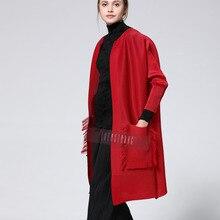 LANMREM 2020 nowa letnia i jesienna moda damska odzież pełna rękawy plisowana czerwona kardigan bez guzików WH70807