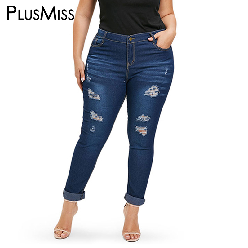 PlusMiss Plus Size 3XL XXXL XXL High Waist Sexy Skinny Ripped   Jeans   Women Large Size Hole Distressed Tight Denim Pants Female