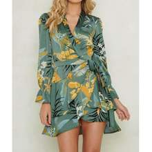 2019 Za Summer Women Fruit Print Dress Za Loose Pleated Foral Print Crossover Dresses Print Women Clothing Vestidos(China)