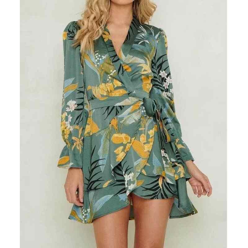 2019 Za летнее женское платье с фруктовым принтом Za Свободные плиссированные форальные платья с принтом кроссовера Женская одежда с принтом Vestidos
