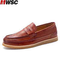 MWSC Man Fashion Slip On Oxford Brogue Loafer Shoes Male Leather Rubber Sole Flats Driving Shoes
