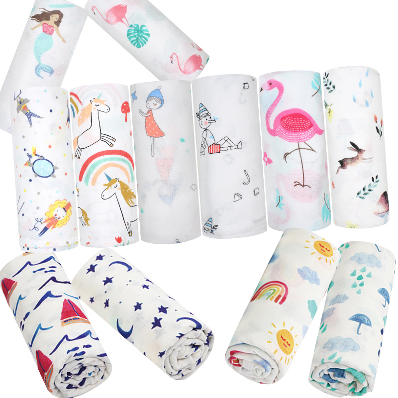 Baby Blanket Flamingo Swaddle For Newborns Cotton Bamboo Super Soft Muslin Diaper Kids Bedding Wrap Photo Children Products