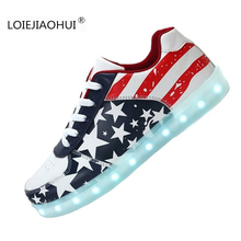 New Hot 2017 Luminous Shoes Unisex Led glow Men & Wamen American Flag USB Rechargeable Light Led Shoes For Adults Casual Shoes