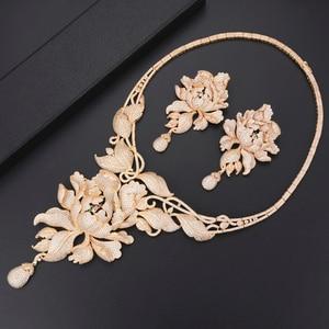 Image 3 - 4 Stuks Luxe Chrysant Zirconia Nigeriaanse Dubai Bruiloft Sieraden Sets Ketting Oorbellen Armband Ring Sieraden Voor Vrouwen
