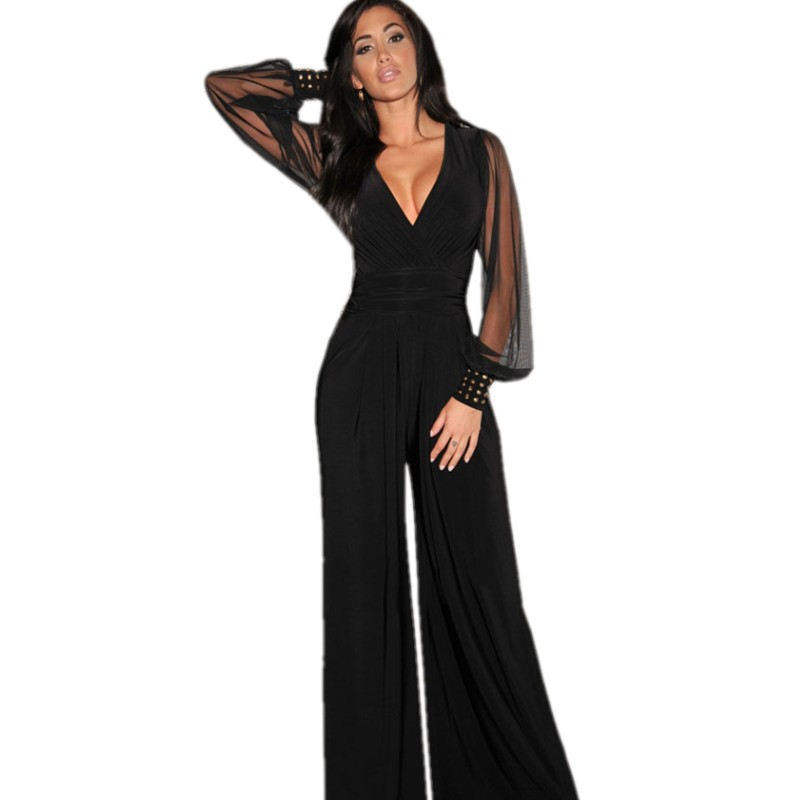 Plus Size XXL Casual sexy v neck jumpsuit autumn embellished cuffs mesh sleeve jumpsuit women clubwear