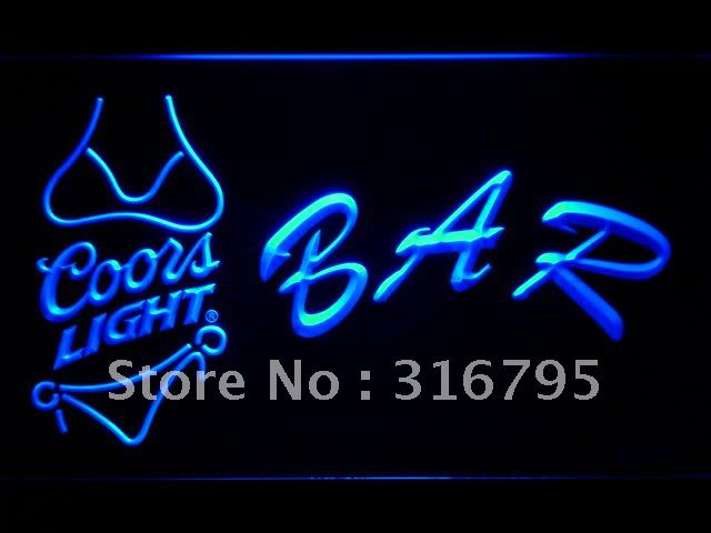 457 BAR Coors Lite Bikini LED Neon Sign with On/Off Switch 20+ Colors 5 Sizes to choose