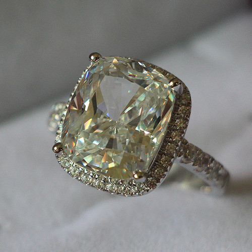 Real 18k 750 white gold vintage 5ct cushion cut diamond for Diamond stamp on jewelry