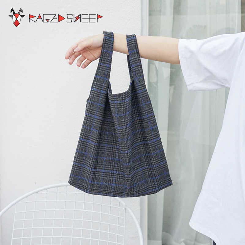 8e419c89e248 Raged Sheep 2018 NEW Women Shopping Bag Eco-friendly Reusable Folding Wool  Plaid Folding Shopping