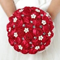 Beautiful Bridal Bridesmaid Flower wedding bouquet artificial flower rose bouquet Crystal bridal bouquets
