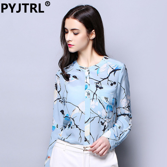a1ac665ce 100% Real Silkworm Silk Spring Cool Blouse Shirt Long Sleeve Light Blue  Flower Print Fashion OL Shirts Moda Camisa Mujer