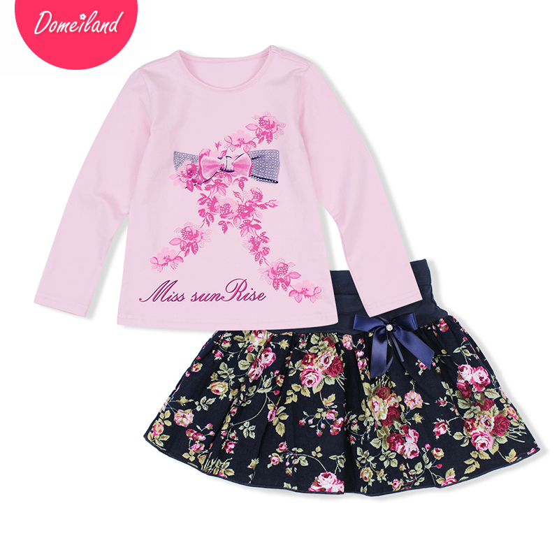 2017 Fashion winter baby brand clothing Boutique Outfits Sets Kids Girl Long Sleeve print Floral Shirts bow skirts clothes 2016 new fashion boutique outfits for omika baby girls sets with 2 pcs cute print long sleeve tops bow tutu skirts size 4 12y