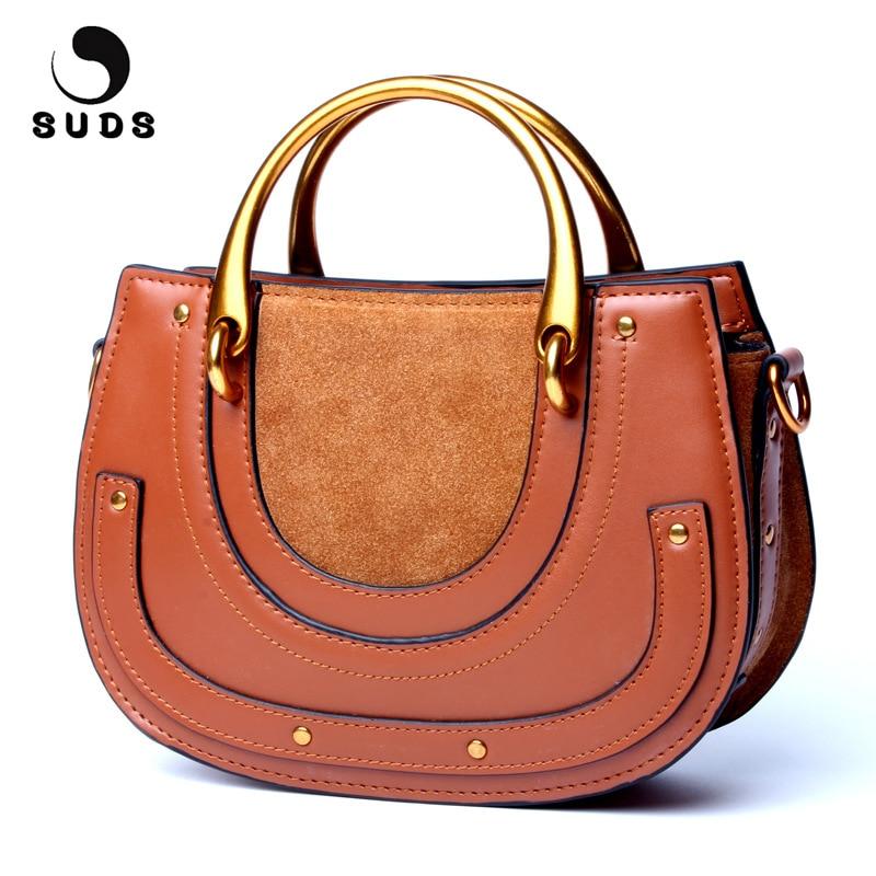 SUDS Brand 2018 Vintage Genuine Leather Saddle Bag Women Patchwork Handbag Tote Bag High Quality Cow Leather Women Messenger Bag