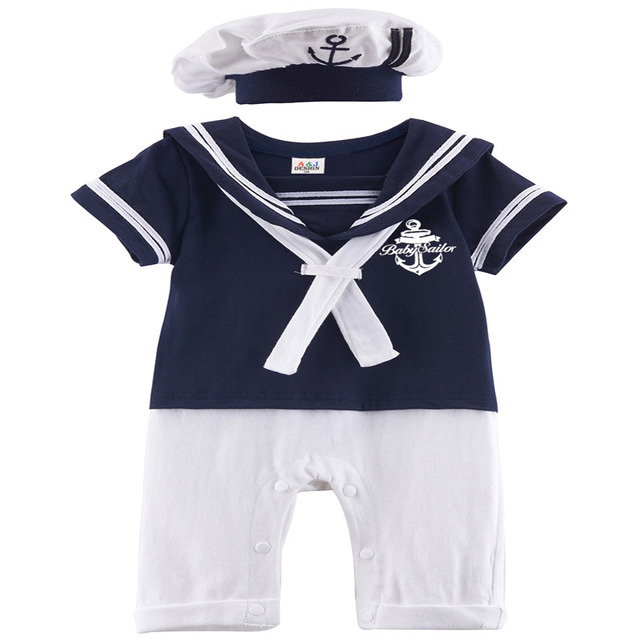 bf20bf268e28d Baby Boys Girls Sailor Costume Navy Style Infant Romper Gentleman Jumpsuit  Toddler Dress Suit Newborn Clothes Sets With Hat