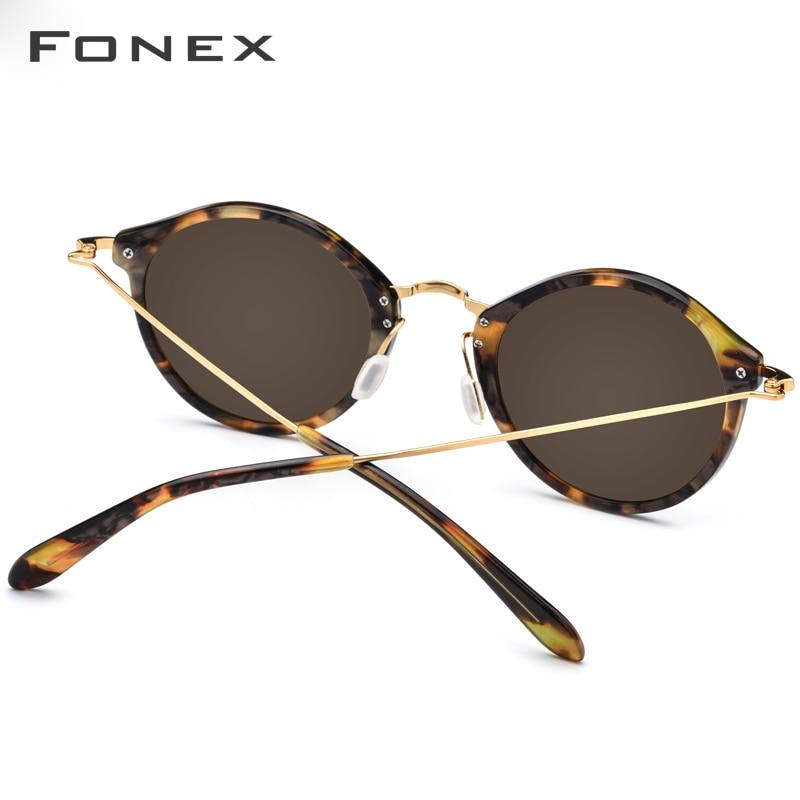 FONEX élastique B titane lunettes de soleil polarisées femmes marque Designer 2019 Vintage rond lunettes de soleil pour hommes rétro acétate lunettes de soleil - 4